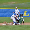Paul DiCicco - The News-Herald<br /> NDCL Shortstop, Sam Frontino, a little late on the tag and can't catch the stealing Cougar, Nick D'Angelo.