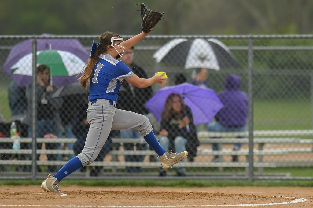 . Eric Bonzar�The Morning Journal Midview freshman Marcella McMahon pitches against the Perrysburg Yellow Jackets, during the 12th annual Prebis Memorial Softball Tournament, April 28, 2017.
