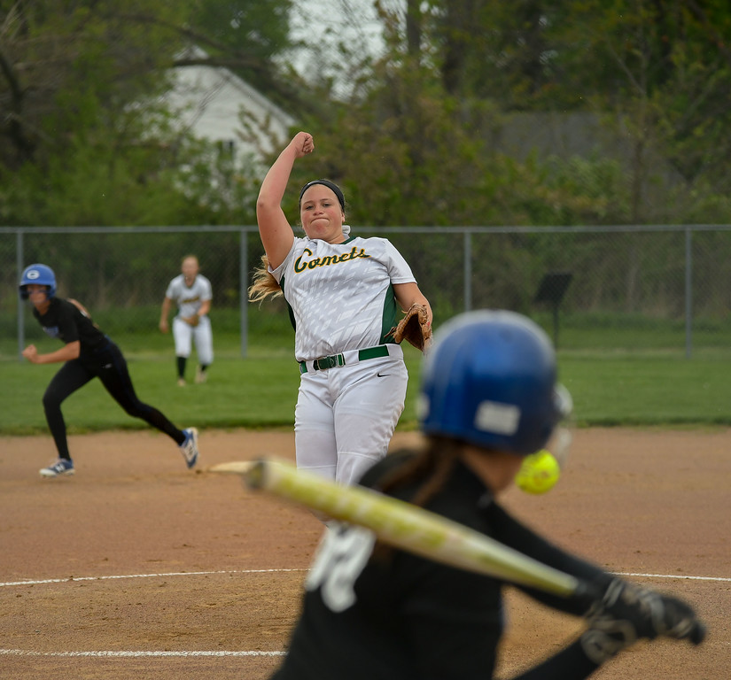 . Eric Bonzar�The Morning Journal Amherst\'s Madison O\'Berg pitches against the Anthony Wayne Generals, during the 12th annual Prebis Memorial Softball Tournament, April 28, 2017.