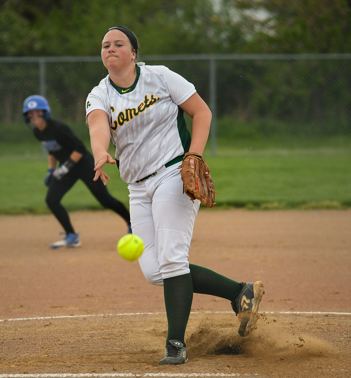 . Eric Bonzar�The Morning Journal Amherst\'s Madison O\'Berg takes the mound against the Anthony Wayne Generals, during the 12th annual Prebis Memorial Softball Tournament, April 28, 2017.