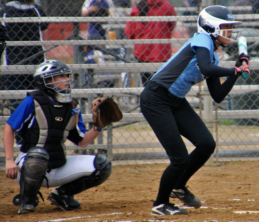 . Jon Behm - The Morning Journal South sophomore Mya Matriano squares up for a bunt in the top of the first inning against Poland Seminary on April 28 at the Prebis Memorial Invitational.