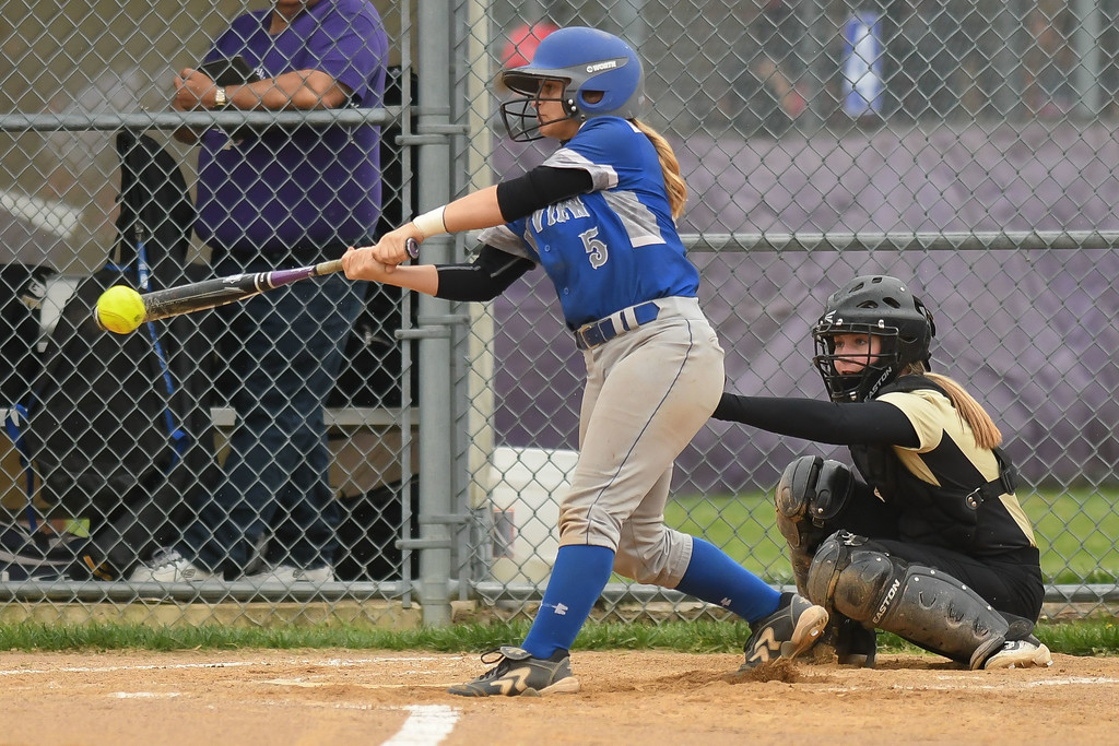 . Eric Bonzar�The Morning Journal Midview\'s Hannah Taulbee connects on a pitch, April 28, 2017.