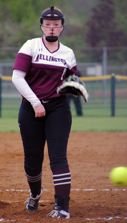 . Jon Behm - The Morning Journal Wellington pitcher Rianna Rosecrans pitches during the top of the first inning against Girard on April 28 at Wellington Community Park.