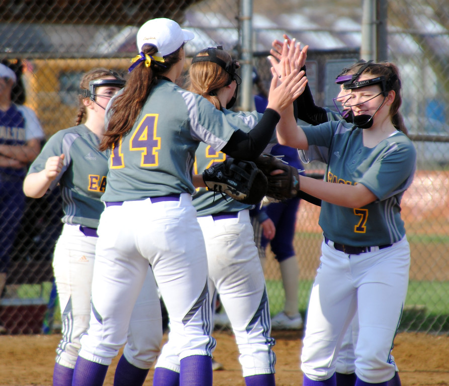 . Jon Behm - The Morning Journal<br> Avon\'s infield celebrates a strikeout by pitcher Jesse Dean against North Royalton at Wellington Community Park during the Prebis Memorial Classic on April 27.