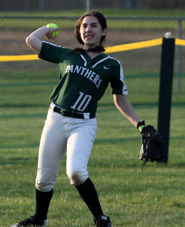 . Randy Meyers - The Morning Journal<br> Elyria Catholic outfielder Sarah Griffin relays a throw against Fairview during the Prebis Memorial Classic at Wellington Community Park on April 27.