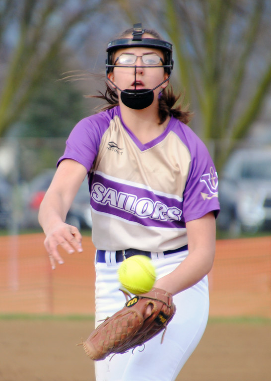 . Jon Behm - The Morning Journal<br> Vermilion\'s Danielle McGlothlin delivers a pitch against Northwestern at Wellington Community Park during the Prebis Memorial Classic on April 27.