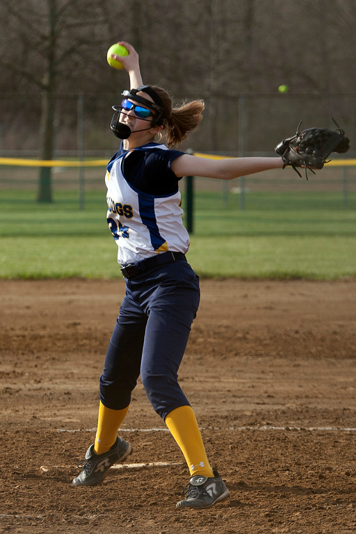 . Jen Forbus - The Morning Journal<br> Olmsted Falls pitcher Keeley Patton delivers a pitch against Wellington on April 27 during the Prebis Memorial Classic at Wellington Community Park.