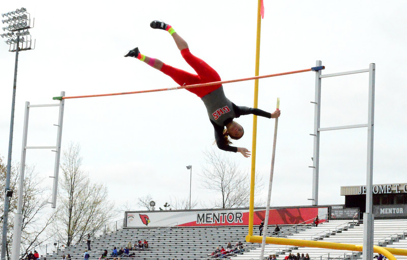 Brittany Chay - The News-Herald<br /> Ally Thompson in the pole vault during the Mentor Cardinal Relays on April 30.