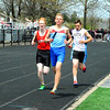 Brittany Chay - The News-Herald<br /> Runners participate in the 4x1,600 relay during the Mentor Cardinal Relays on April 30.