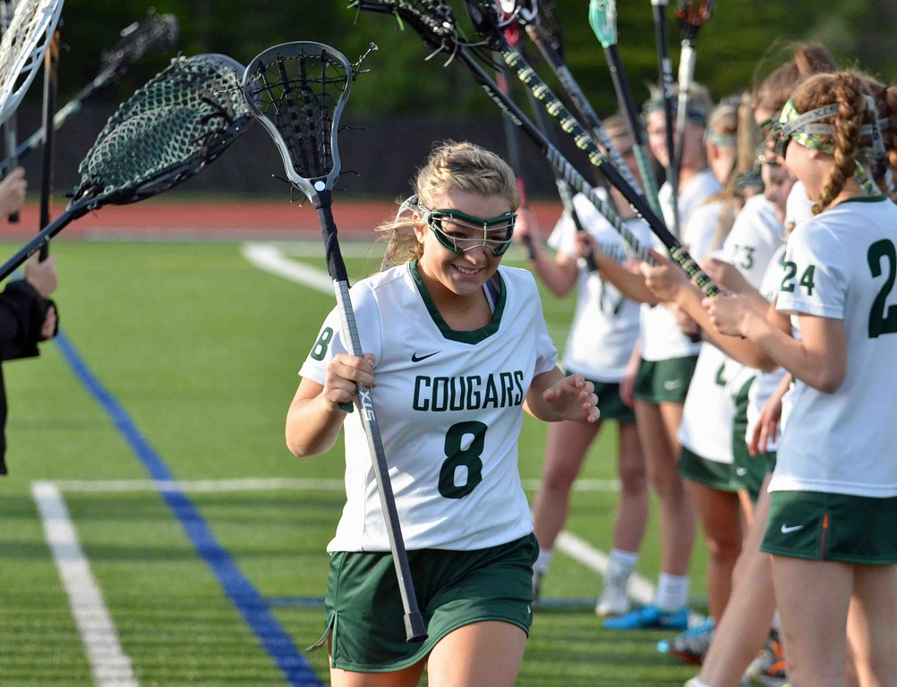 . Paul DiCicco - The News-Herald  Lake Catholic Senior, Abbey Turk, being announced on Senior Night at Lake Catholic on May 10.