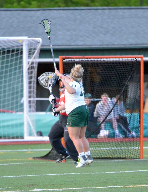 . Paul DiCicco - The News-Herald  Lake Catholic\'s Kathryn Sutton scored several goals, and she was persistent in not allowing the goalie to outlet a pass after a blocked goal attempt.