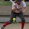 Mentor's Riley Powers pulls back on a bunt attempt during a game against Shaker Heights at Mentor High School on May 10, 2017.  Mentor defeated Shaker 10-0.