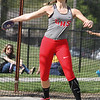 Michael Johnson - The News-Herald<br /> Alivia Puckrin of Geneva performs in the discus event during the CVC Chagrin division Track and Field Championships at Orange High School on May 11, 2016.
