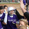 Randy Meyers - The Morning Journal<br /> Paige Hartley of Keystone is  swarmed by her team after hitting a home run against Padua on May 11.