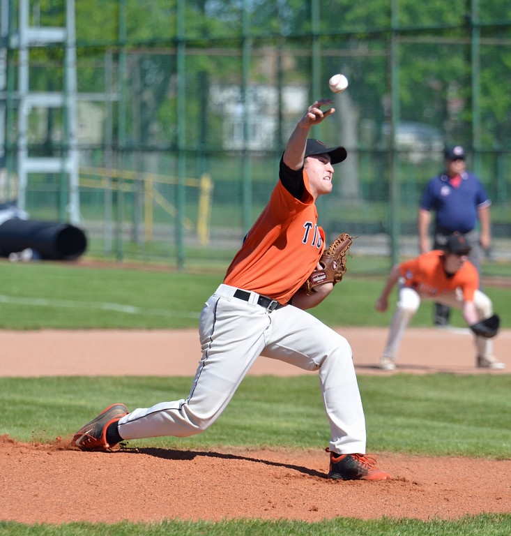 . Paul DiCicco - The News-Herald Chagrin Falls pitcher, Erik Wilson\'s first pitch against the Ravenna Ravens in the District semi-finals on May 15.
