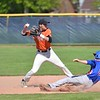 Paul DiCicco - The News-Herald<br /> Chagrin Falls shortstop, Adam Bencko attempting a double-play in the first inning against Ravenna on May 15.