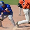 Paul DiCicco - The News-Herald<br />  Chargin Falls sophomore, Jack Amendola, beats out a bobbled ball by the first baseman.