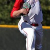 Randy Meyers - The Morning Journal<br /> Firelands starting pitcher Trevor   Damron delivers a pitch against Buckeye during the third inning on   Monday