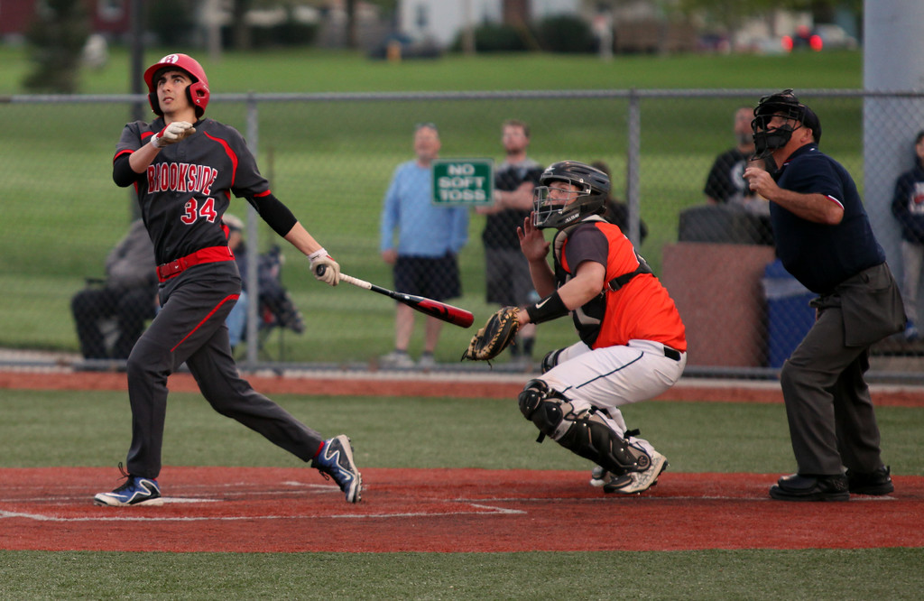 . Randy Meyers - The Morning Journal<br> Brookside\'s Devin Houdeshell fouls off a pitch down the left field line against Padua on May 15.