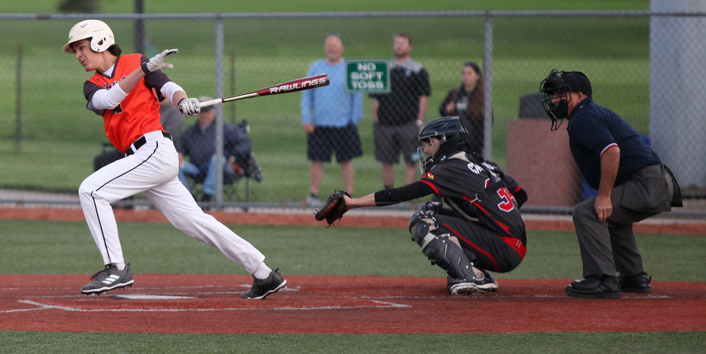 . Randy Meyers - The Morning Journal<br> Spencer Bellina of Padua lines a hit against Brookside on May 15.