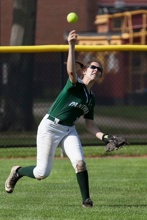 . Jen Forbus - The Morning Journal<br> Elyria Catholic\'s Sarah Griffin fires the ball in from the outfield against Independence on May 15.