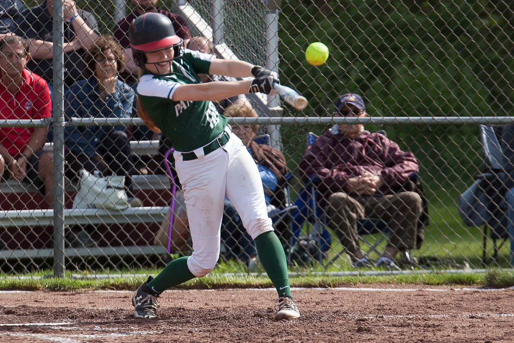 . Jen Forbus - The Morning Journal<br> Elyria Catholic\'s Julia Allegretto connects with a pitch in the Panthers\' district semifinal game against the Independence Blue Devils on May 15.