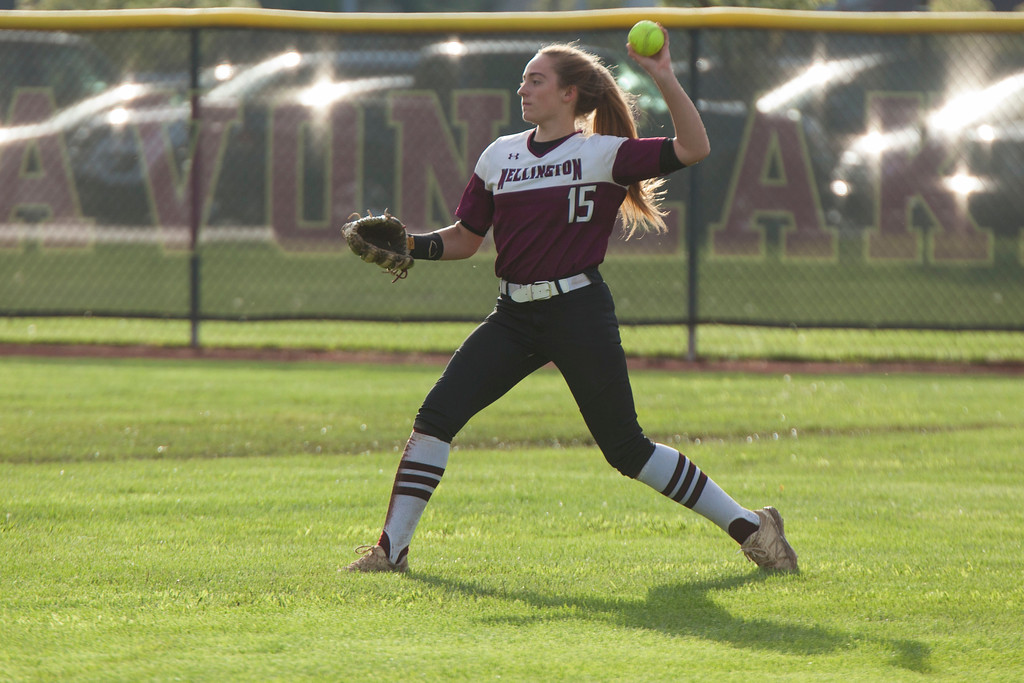 . Jen Forbus - The Morning Journal<br> Wellington\'s Brooklinn Damiano throws the ball back to the infield against CVCA on May 15.