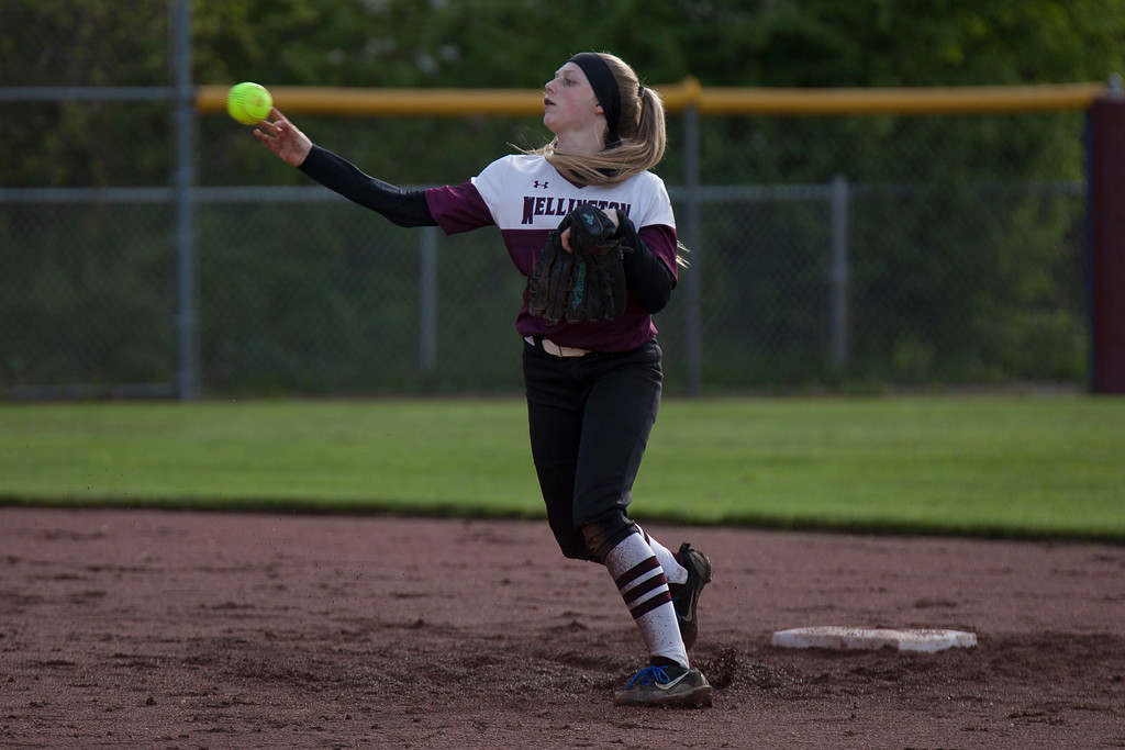 . Jen Forbus - The Morning Journal<br> Wellington short stop Allissa Boraggina makes a throw to first against CVCA on May 15.