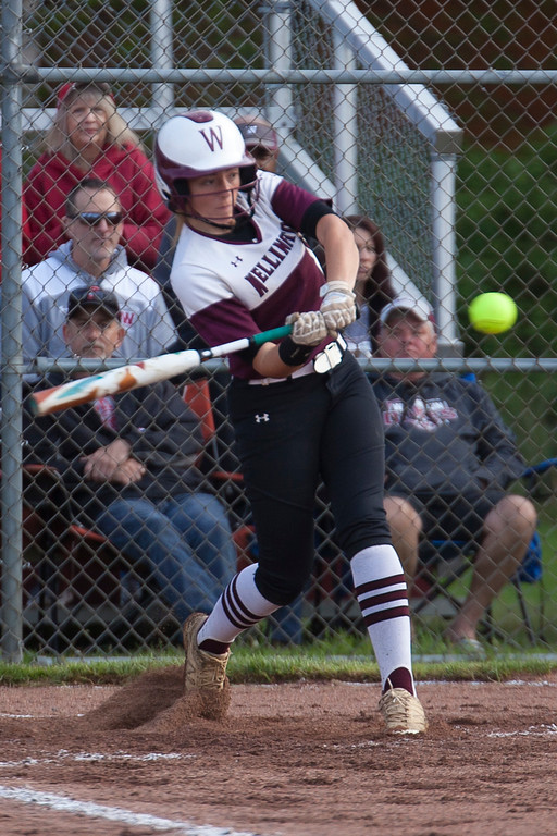 . Jen Forbus - The Morning Journal<br> Wellington\'s Brooklinn Damiano connects for a home run in the Dukes\' district semifinal game against the CVCA Royals on May 15.