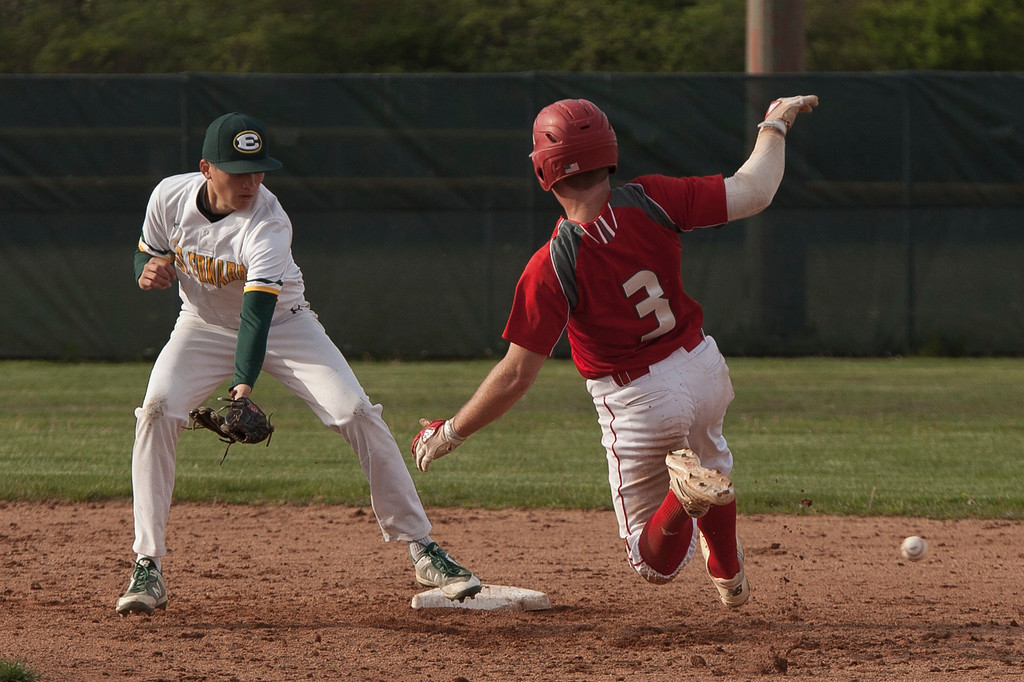 . Jen Forbus - The Morning Journal<br> Elyria\'s Tristan Arno to safely slide into second against St. Edward on May 16.