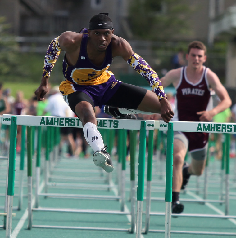 . Randy Meyers - The Morning Journal<br> Tyler Hannah of Lakewood wins the first qualifying heat of the boys 110 meter hurdles on May 16.
