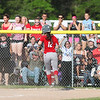 Elyria fans cheer as Madison Cruzado scores the go ahead run against Amherst in the seventh inning. Randy Meyers -- The Morning Journal