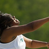 Michael Johnson - The News-Herald<br /> De'Asia Haislah of Mayfield performs in the girls shot put event during day one of the D1 District Track Meet at Mayfield High School on May 17, 2017.