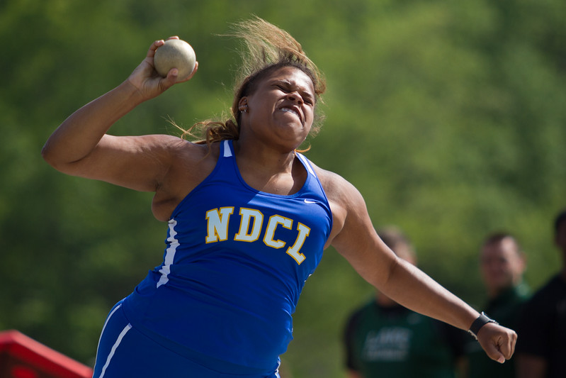 Michael Johnson - The News-Herald<br /> NDCL's Asia Jones performs in the shot put event during day one of the D1 District Track Meet at Mayfield High School on May 17, 2017.