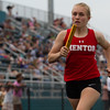 Michael Johnson - The News-Herald<br /> Mentor's Anna Evans performs in the 4x800 meter relay during day one of the D1 District Track Meet at Mayfield High School on May 17, 2017.