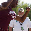 Michael Johnson - The News-Herald<br /> Brandi Boddy of Maple Heights performs in the shot put event during day one of the D1 District Track Meet at Mayfield High School on May 17, 2017.