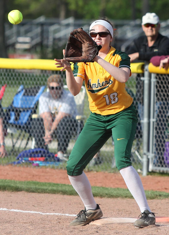 . Randy Meyers - The Morning Journal Kate Iliff looks the ball in at first base against Elyria on Thursday