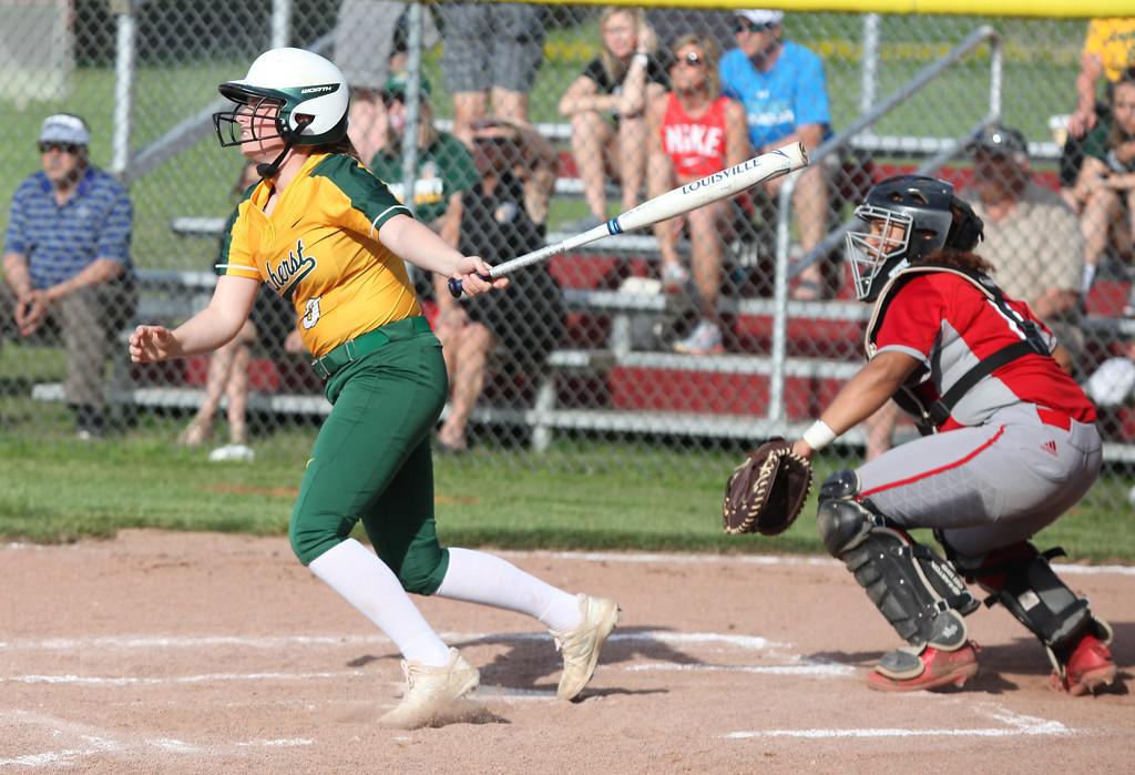 . Randy Meyers - The Morning Journal Amanda Crisler of Amherst hits a  fly ball against Elyria on Thursday