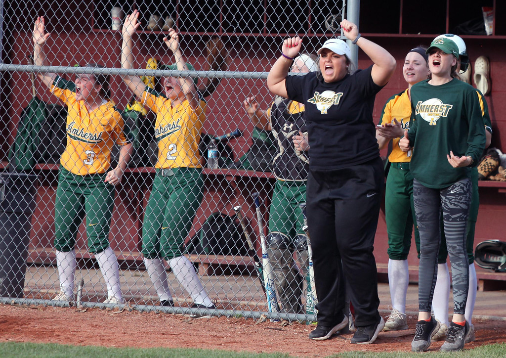 . Randy Meyers - The Morning Journal The Amherst bench celebrates after scoring a run against Elyria on Thursday.