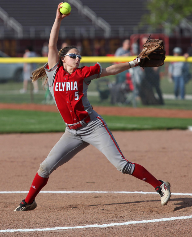 . Randy Meyers - The Morning Journal Isabella St. Peter of Elyria  delivers a pitch against Amherst during the first inning on Thursday