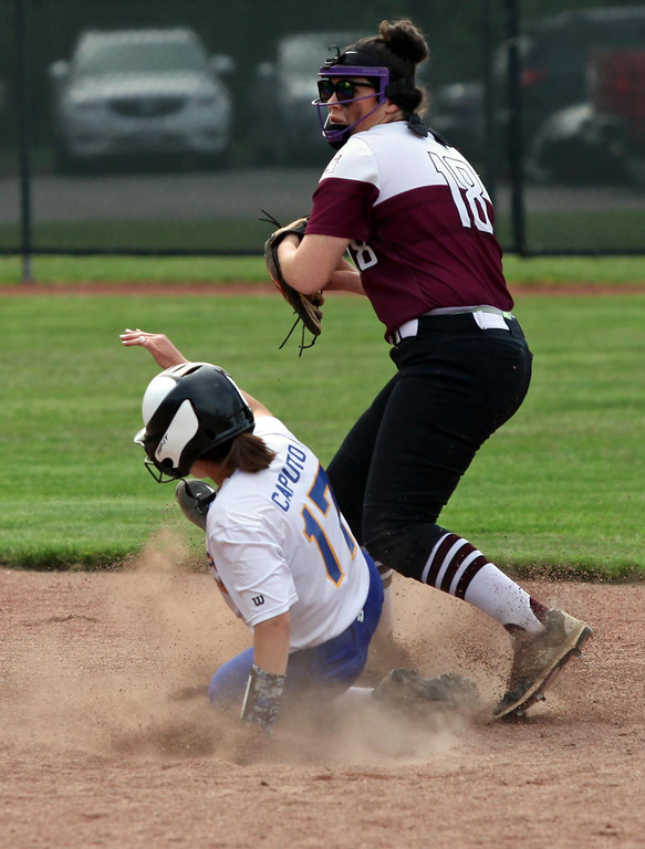 . Randy Meyers - The Morning Journal Hope Diermyer of Wellington forces  out Ashley Caputo of Independence at second on Thursday