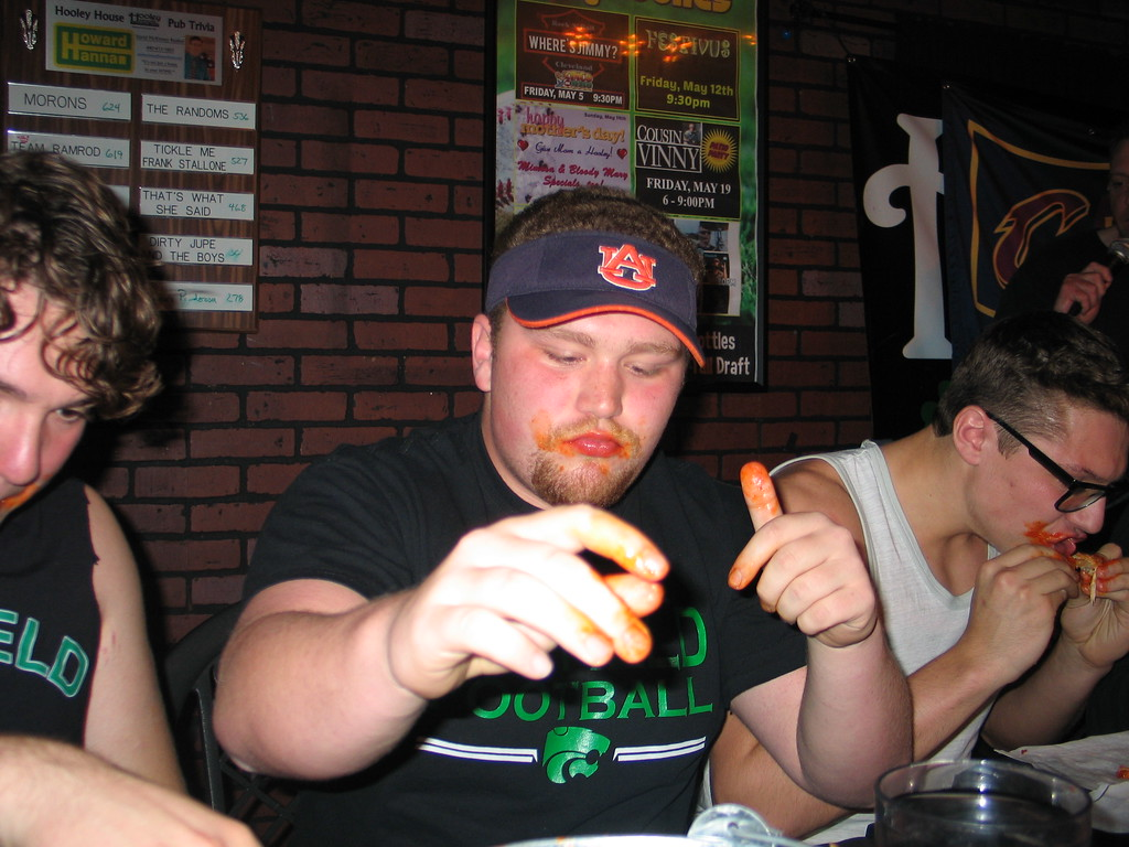 . John Kampf - The News-Herald Mayfield\'s Yanni Sarris at the 2017 News-Herald Senior Bowl wing-eating contest on May 22 at Hooley House in Mentor.