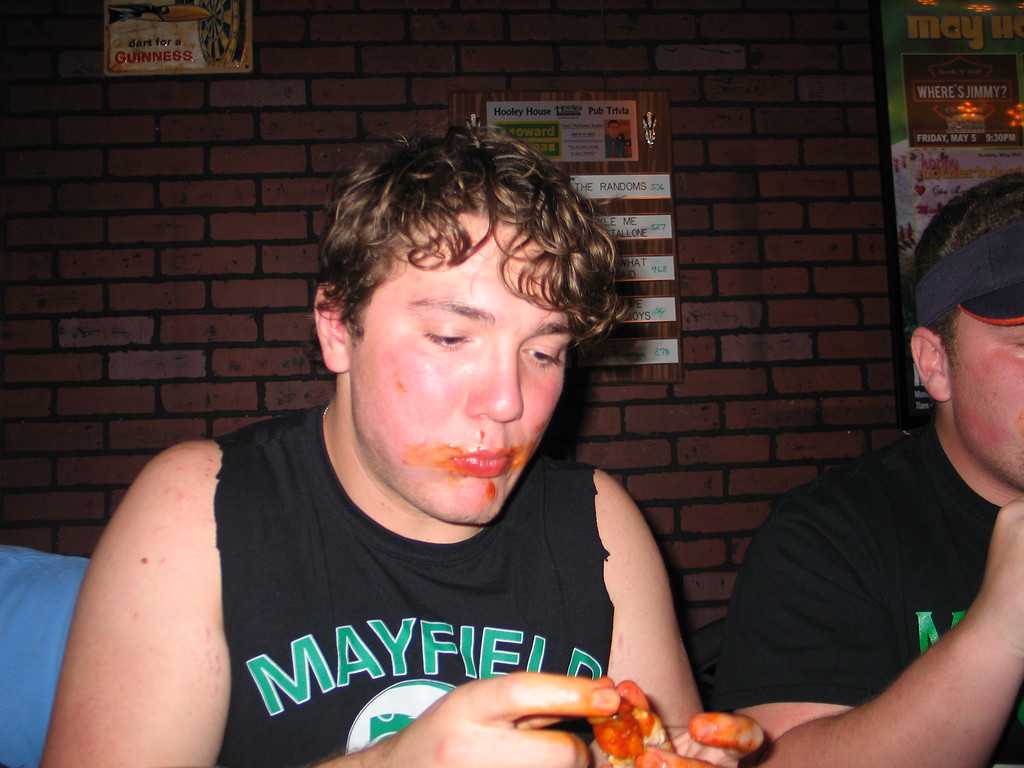 . John Kampf - The News-Herald Mayfield\'s Alan Shapiro at the 2017 News-Herald Senior Bowl wing-eating contest on May 22 at Hooley House in Mentor.