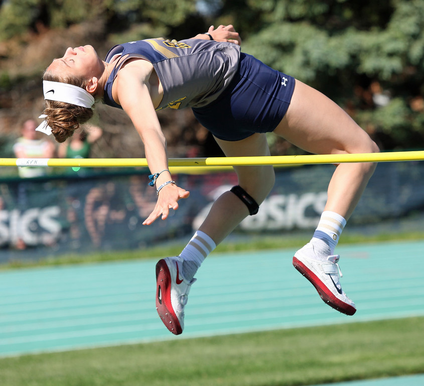 . Randy Meyers - The Morning Journal<br> Isabella Geraci of North Ridgeville clears the bar in her first attempt in the high jump on May 23 at the Division I Amherst regional. Geraci placed second with a 5-foot-6 jump to qualify for state.