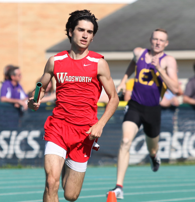 . Randy Meyers - The Morning Journal<br> Gabe Szalay of Wadsworth runs the final leg of the 4x800 meter relay at the Division I Amherst regional on May 23.