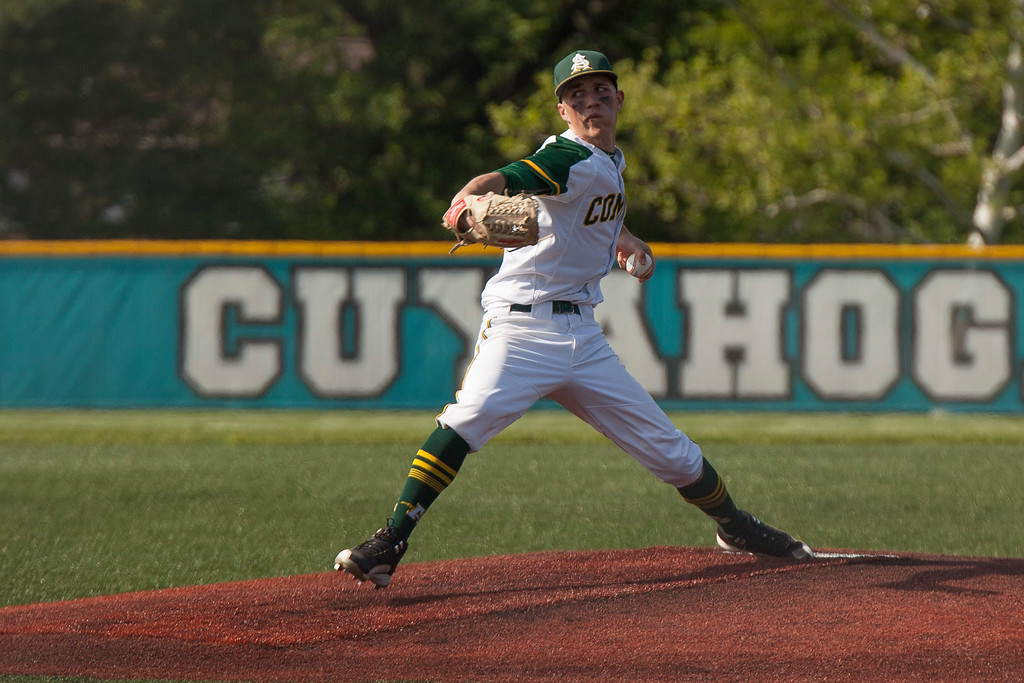 . Jen Forbus - The Morning Journal<br> Ameherst\'s Evan Shawver threw eight innings for the Comets in their regional semifinal contest against the Strongsville Mustangs on May 24.