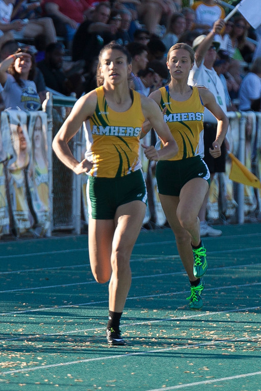 . Jen Forbus - The Morning Journal<br> In the girls 400 dash, Amherst was represented by Alexis Alston, front, and Gracen Siegenthaler on May 25. Alston finished first in the race.