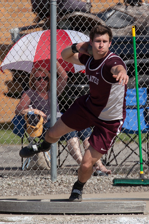 . Jen Forbus - The Morning Journal<br> Michael Shoaf of Rocky River claimed the shot put title at the Amherst regional meet on May 25.