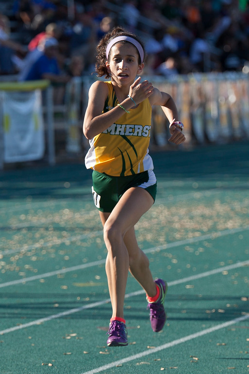 . Jen Forbus - The Morning Journal<br> Alicia Del Valle of Amherst keeps her momentum going in the girls 1600 on May 25.