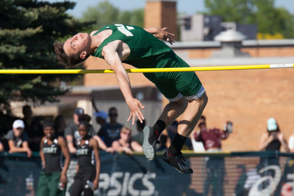 . Jen Forbus - The Morning Journal<br> Westlake\'s Dominic Bauer clears the crossbar in the boys high jump on May 25.